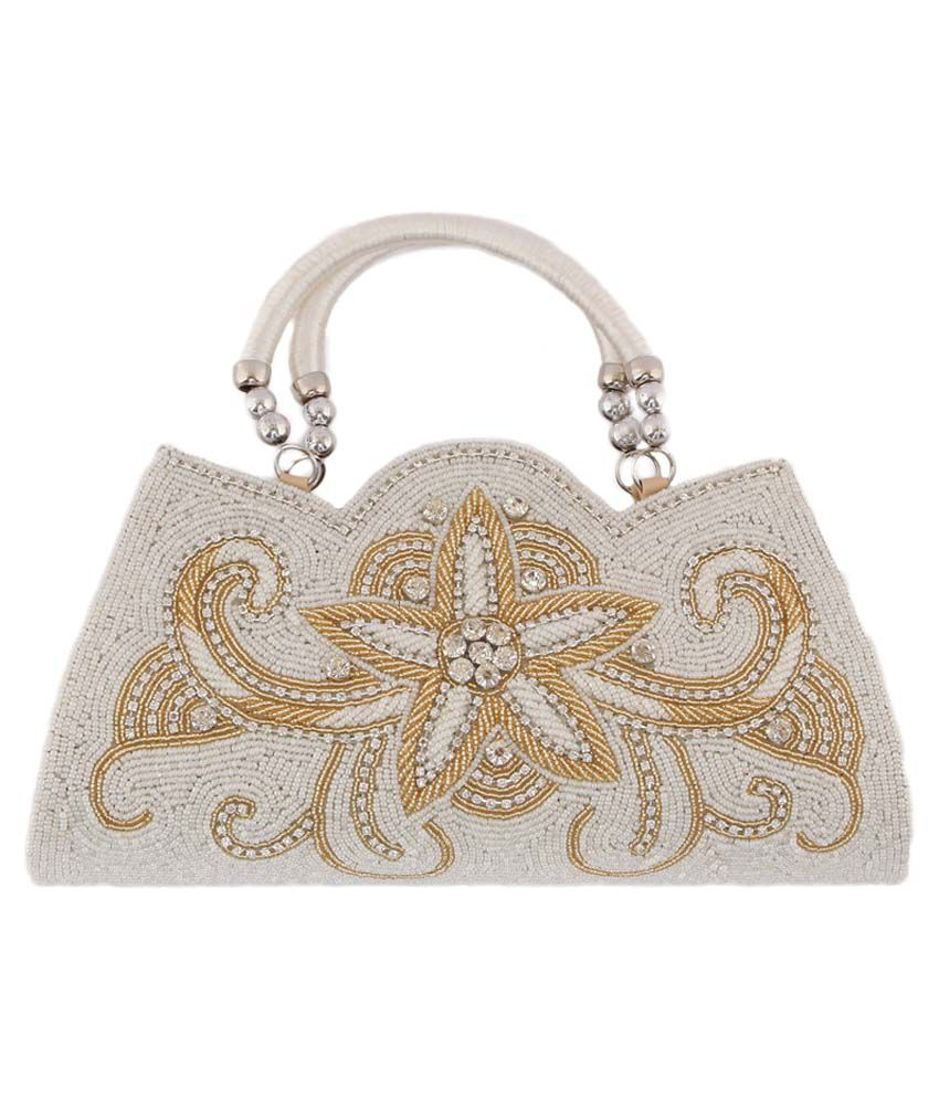 Heaven Deal White Non Leather Magnit Button Clutch