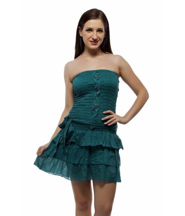 Indi Bargain Cotton Mini Beachwear Shirred Waist Party Dress