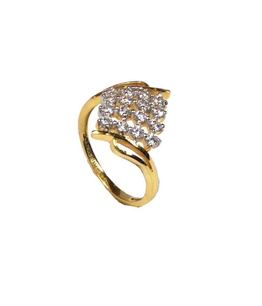 Kataria Jewellers 18KT Gold Centre Focused Ladies Ring with Swarovski Cubic Zirconia