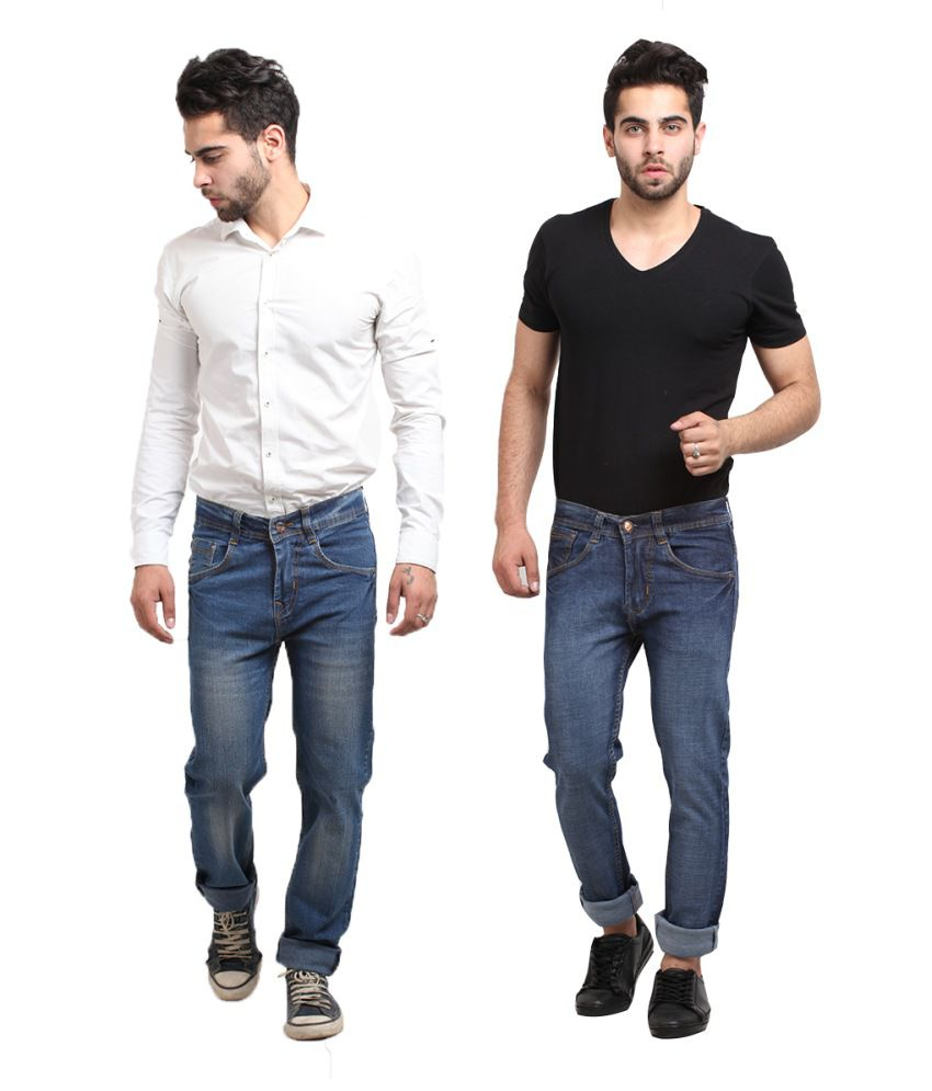 X-cross Multicolor Cotton Blend Jeans Pack Of 2