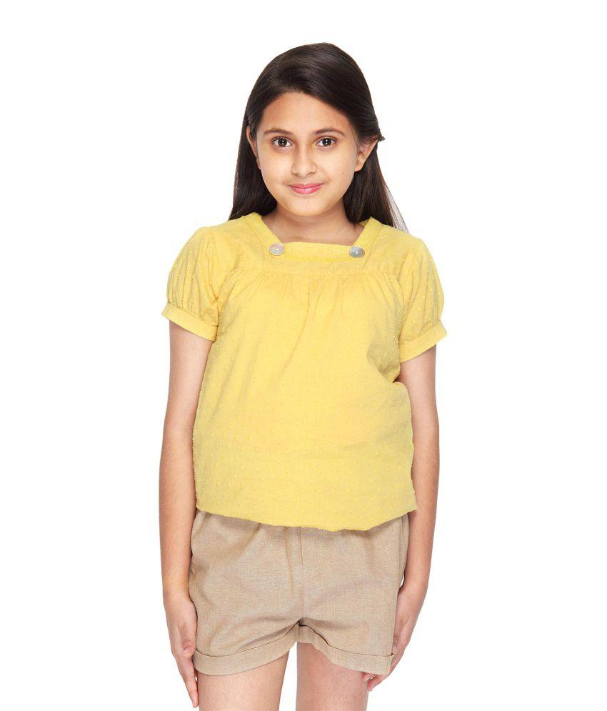 Citypret Yellow Solid Elastic Shorts