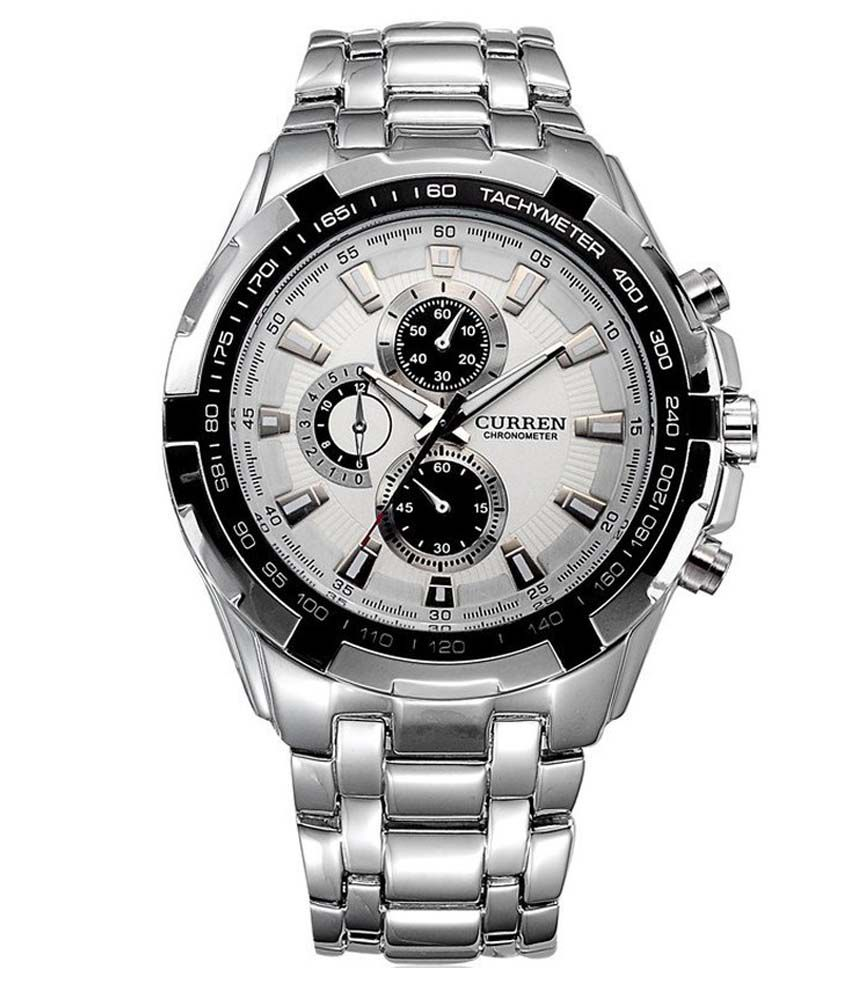 curren silver round analog watch buy curren silver round analog watch online at best prices in