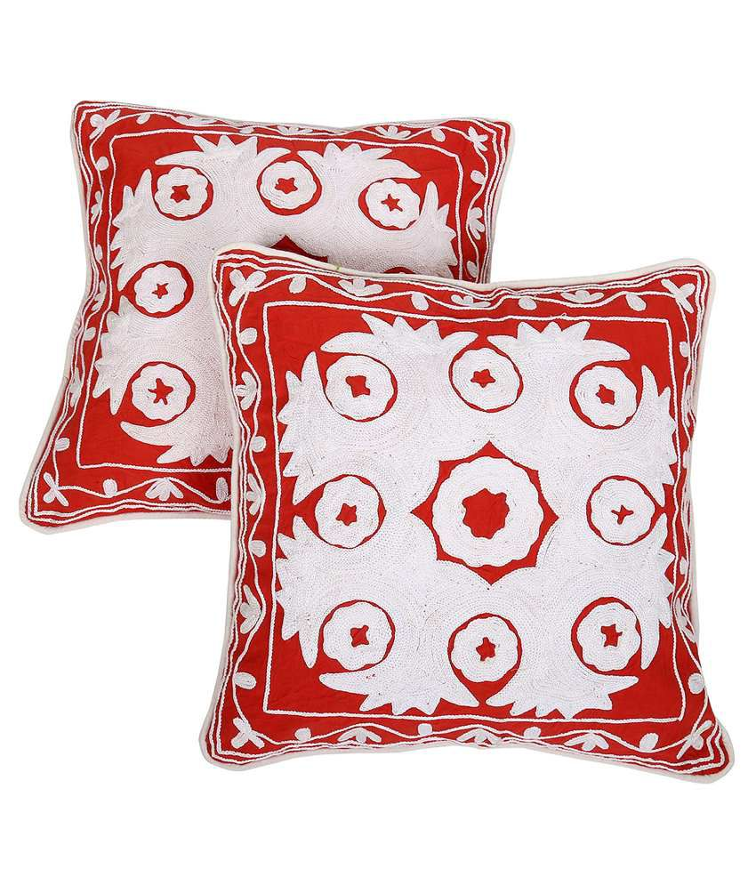 Rajrang Red Cotton Cushion Covers Pack Of 2