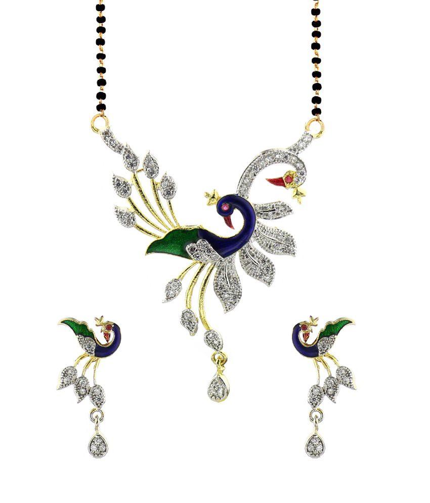 Youbella dancing peacock american diamond mangalsutra pendant with youbella dancing peacock american diamond mangalsutra pendant with chain aloadofball Images