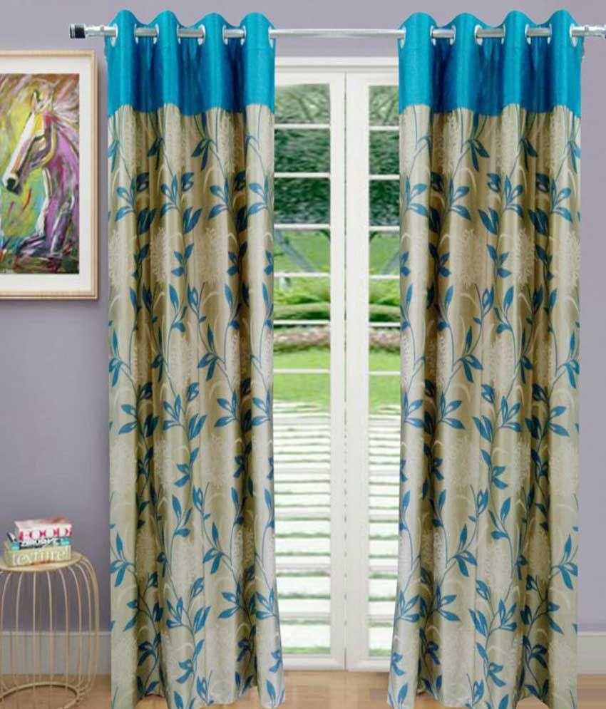 idecor set of 4 door eyelet curtains floral blue buy