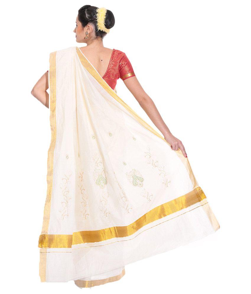 Fashion Kiosks White & White and Beigeen Kerala Kasavu Cotton Saree with  Matching Blouse