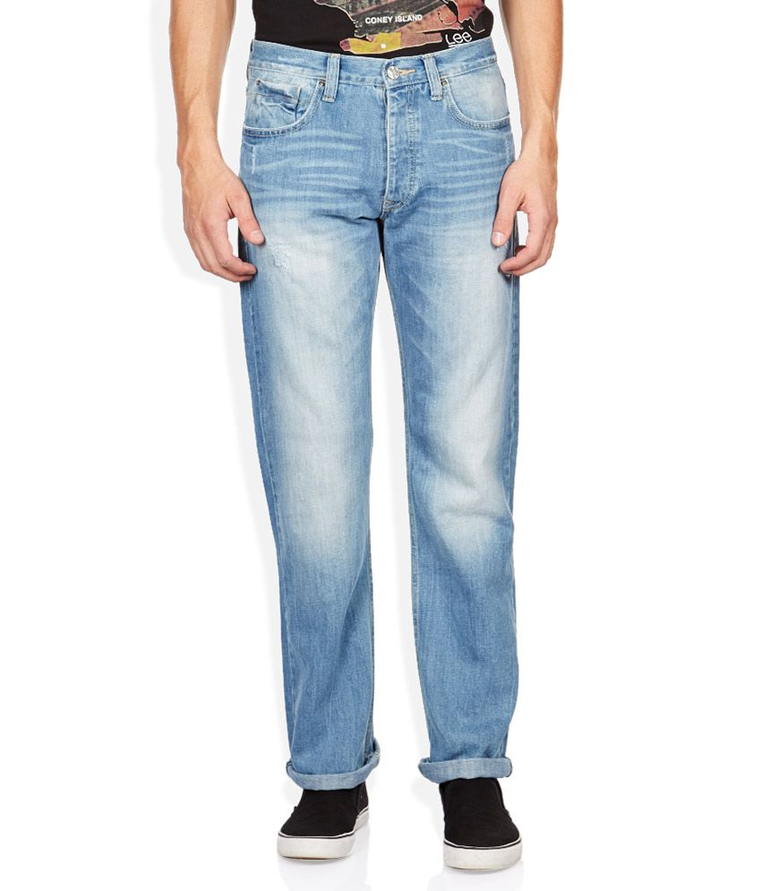 Lee Blue Regular Fit Faded Jeans