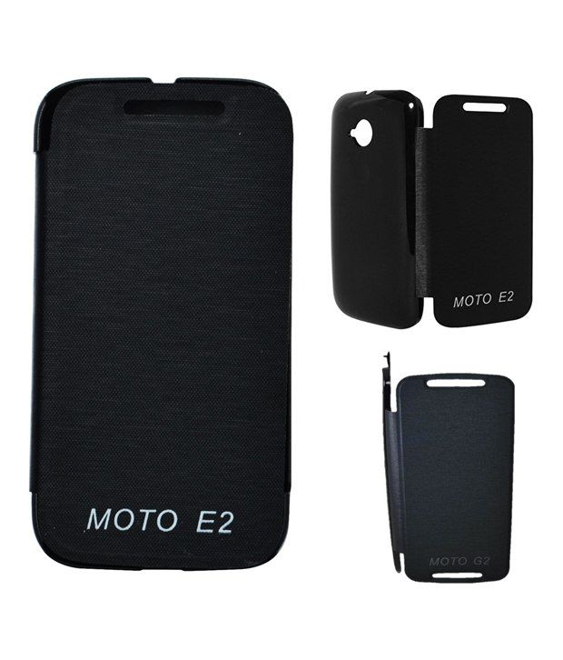 Neeshee Flip Cover For Motorola Moto E 2Gen - Black