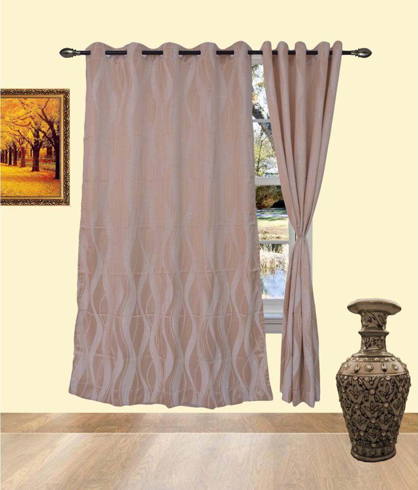 Deco India Beige Cotton Pvc Curtains Solid Beige