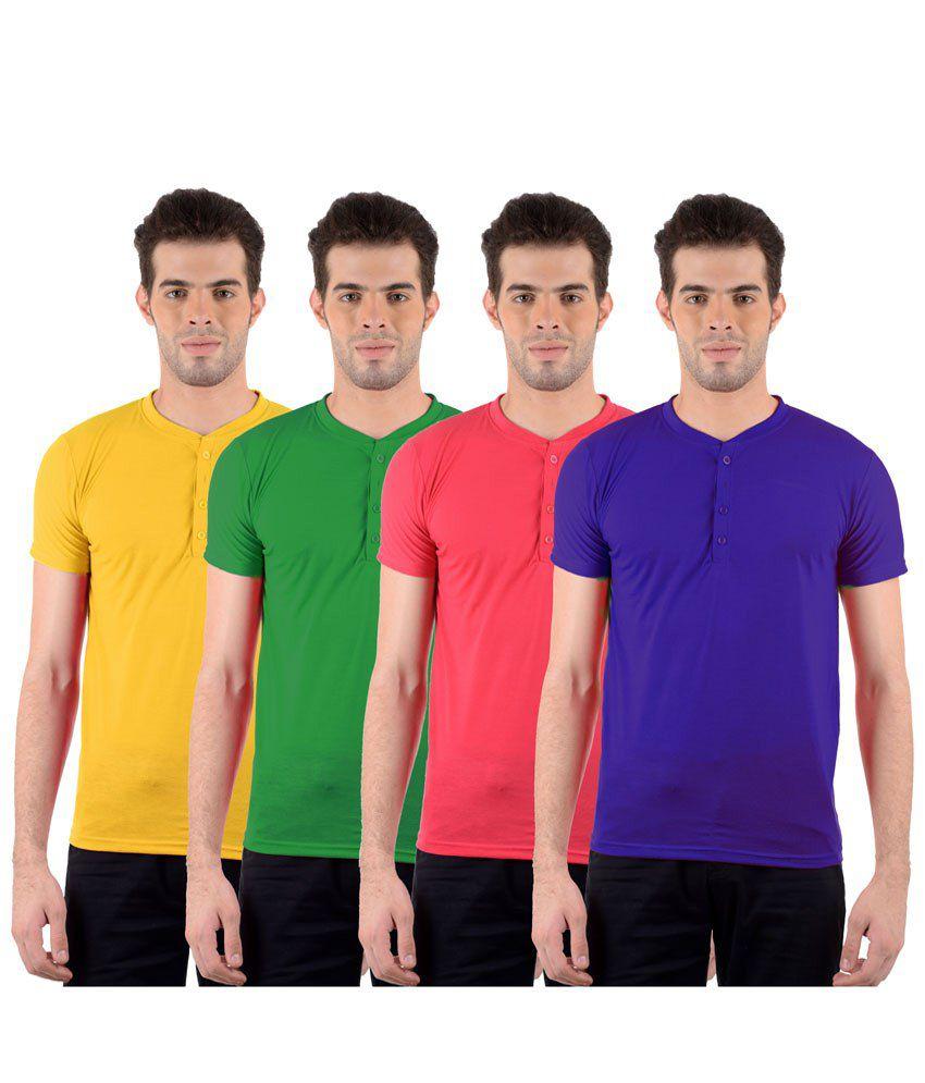 GDivine Voguish Multicolour Pack of 4 T Shirts for Men