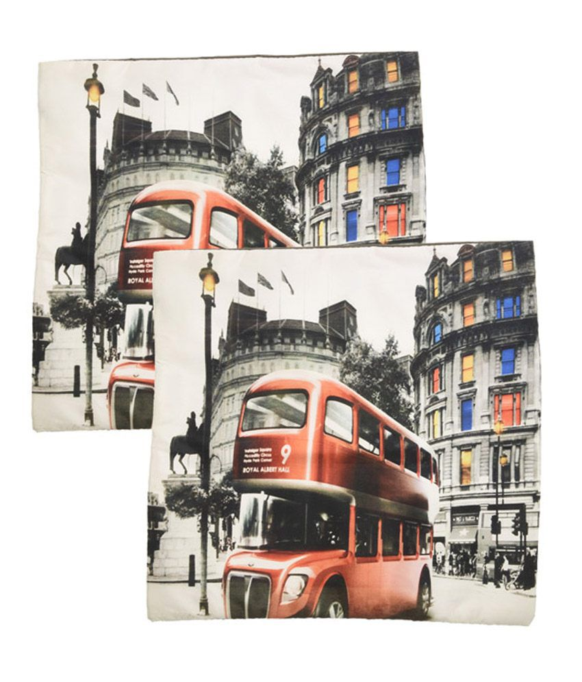 Indirang Multicolour Blends Vintage Bus Cushion Cover - Pack of 2