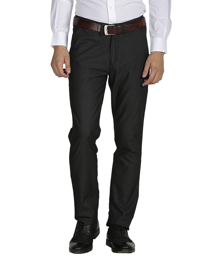 Kingswood Black Cotton Slim Fit Casual Trouser