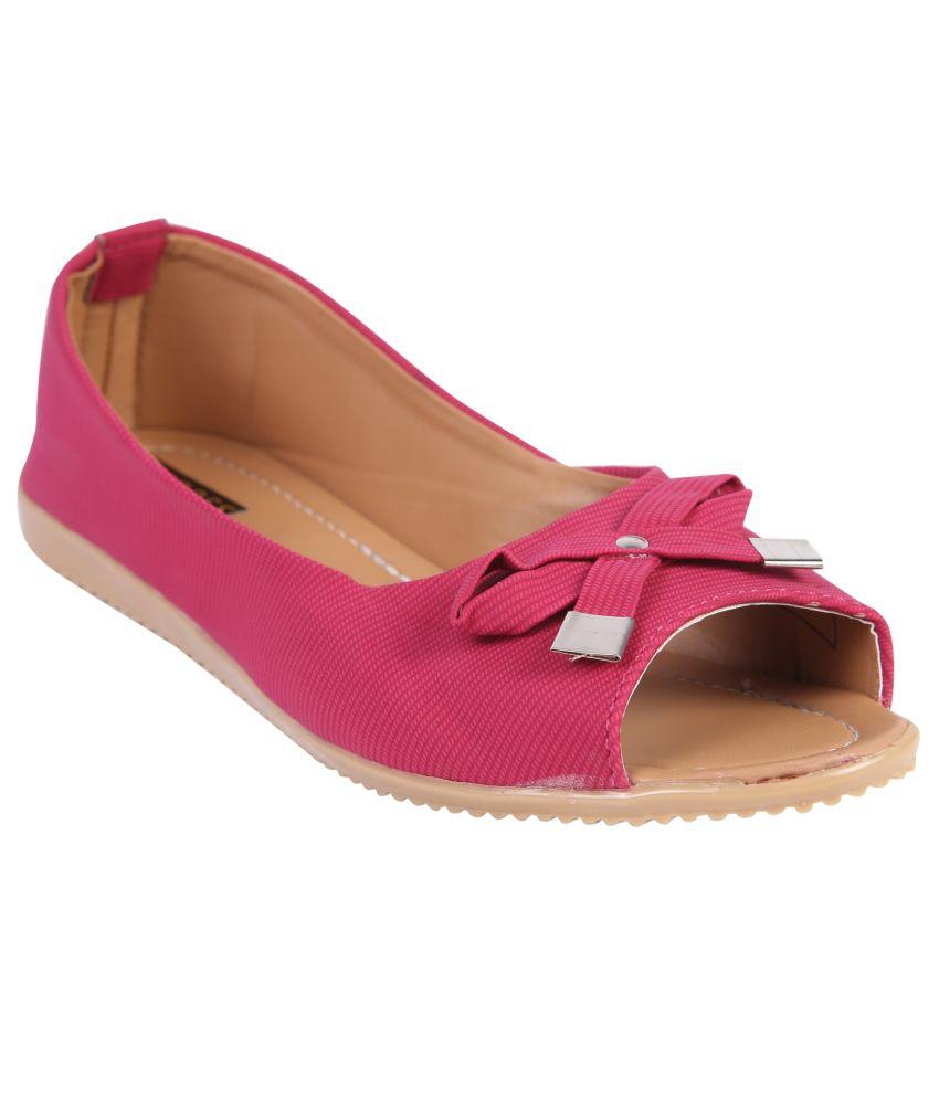 Azores Pink Fabric Ballerinas