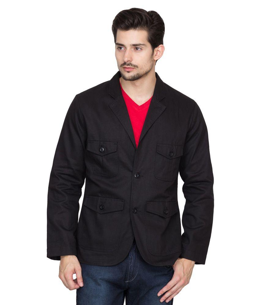Hypernation Black Cotton Casual Blazer