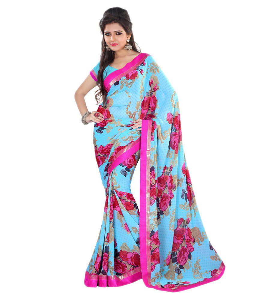Lookslady Blue Georgette Saree