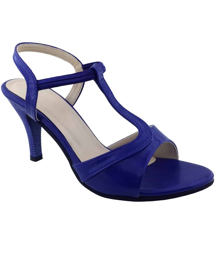 Plutos Blue Faux Leather Heeled Sandals
