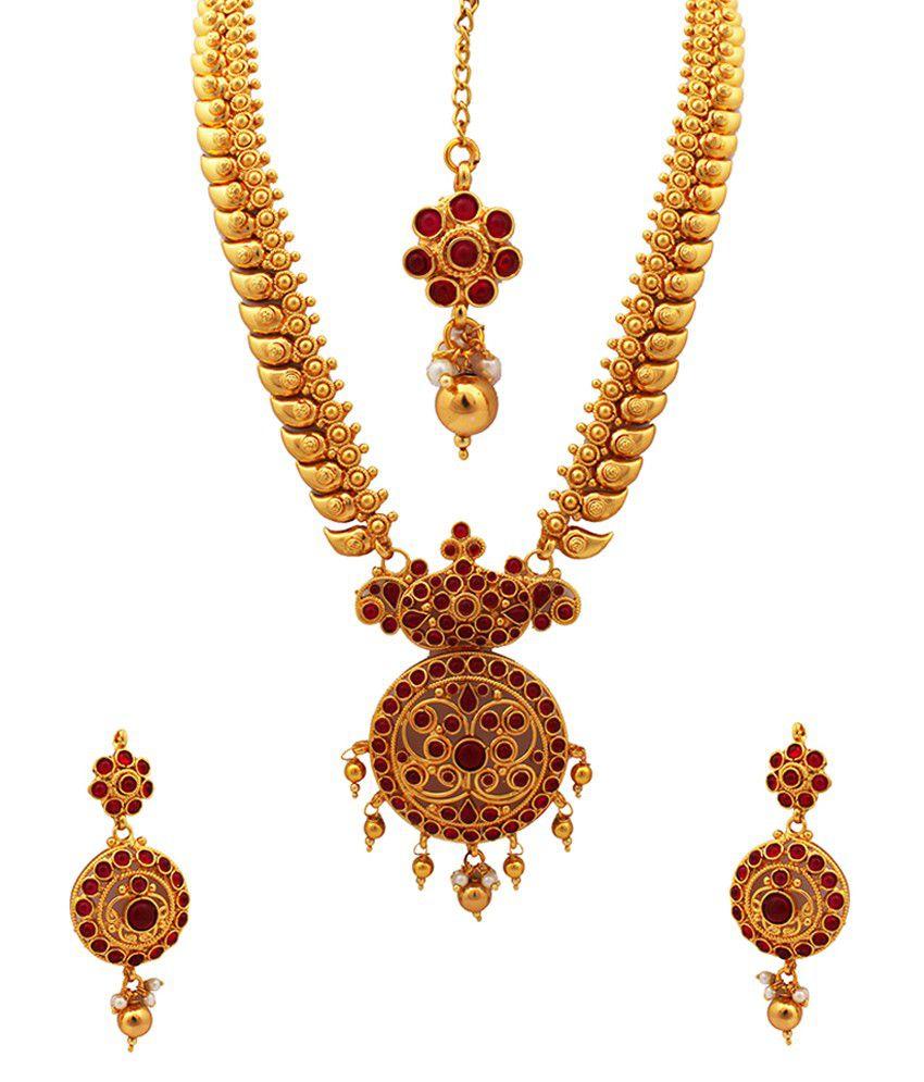 Kushi Gold Plated Traditional Temple Kemp Stone Haram Necklace Set