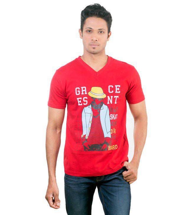 Oviyon V-neck Half sleeve Graphic T-shirt