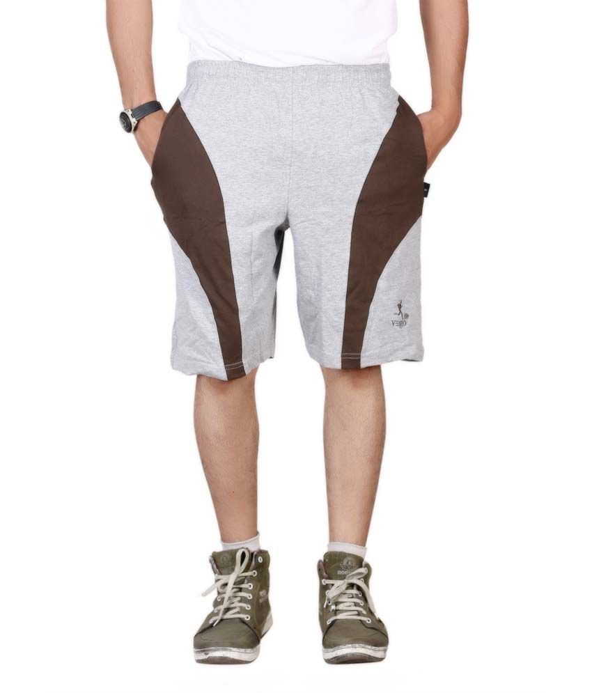 Vego Gray and Brown Cotton Solid Short