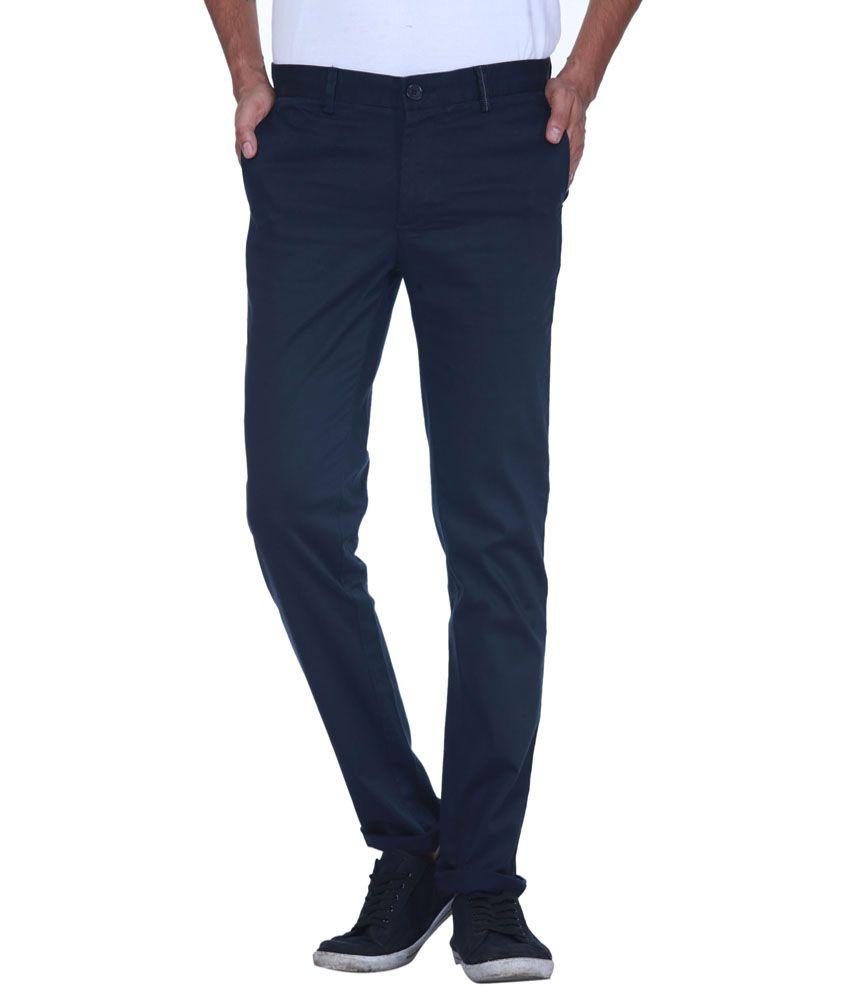 Grasim Fashionable Navy Blue Slim Fit Casual Chinos