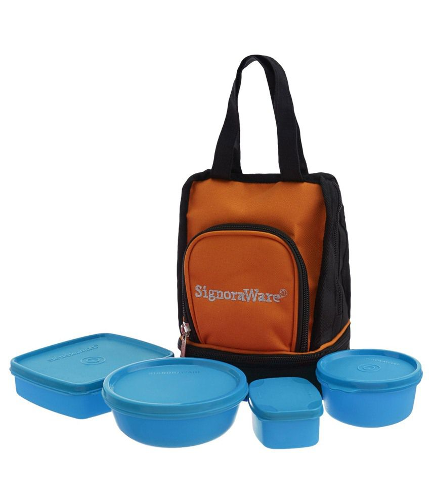 Signoraware Blue Virgin Plastic Carry Lunch Box With Bag Set Of 4