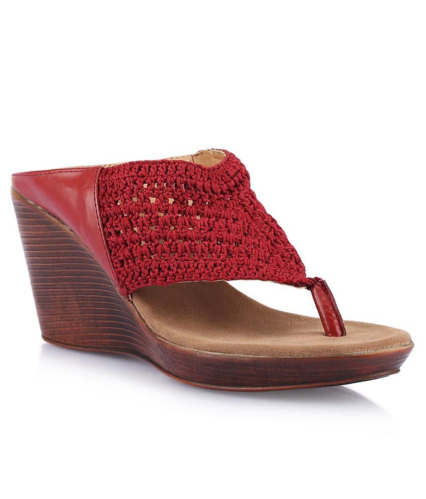 Catwalk Red Wedge Heeled Slip-Ons