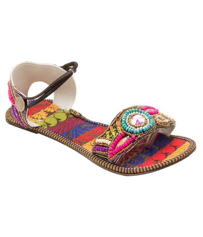 E-Handicrafts Multicolour Flat Sandals