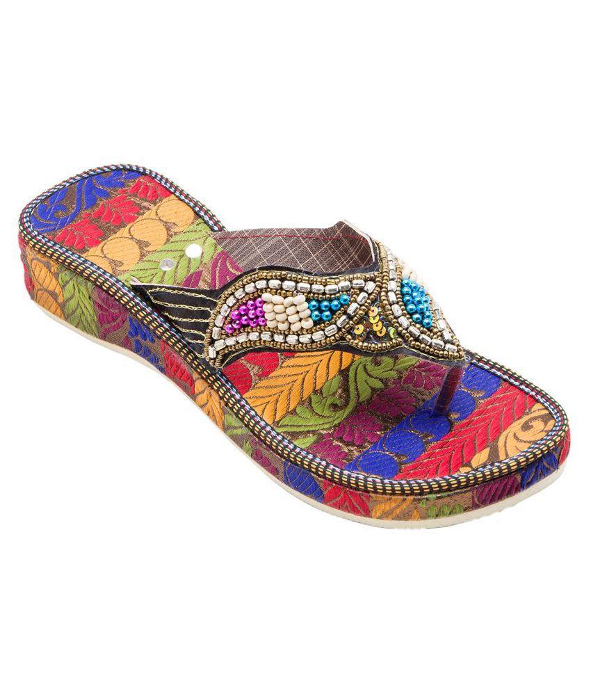 E-Handicrafts Multicolour Flat Slip Ons