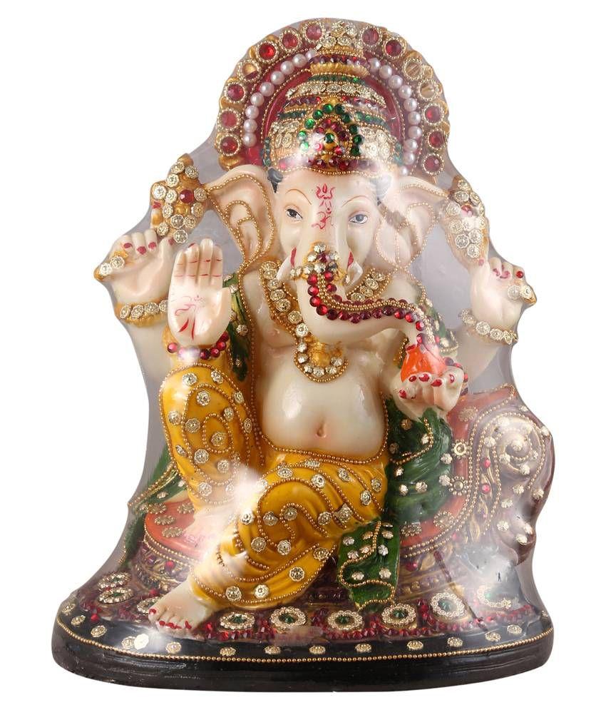 Shopperzcart Yellow & Brown Resin Mukut Ganesha