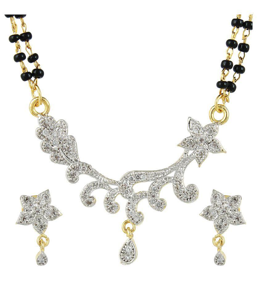 Dee Gee Golden Brass American Diamond Mangalsutra Set