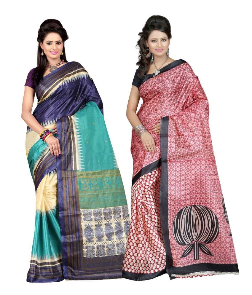 Patankarfab Multi Art Silk Pack of 2