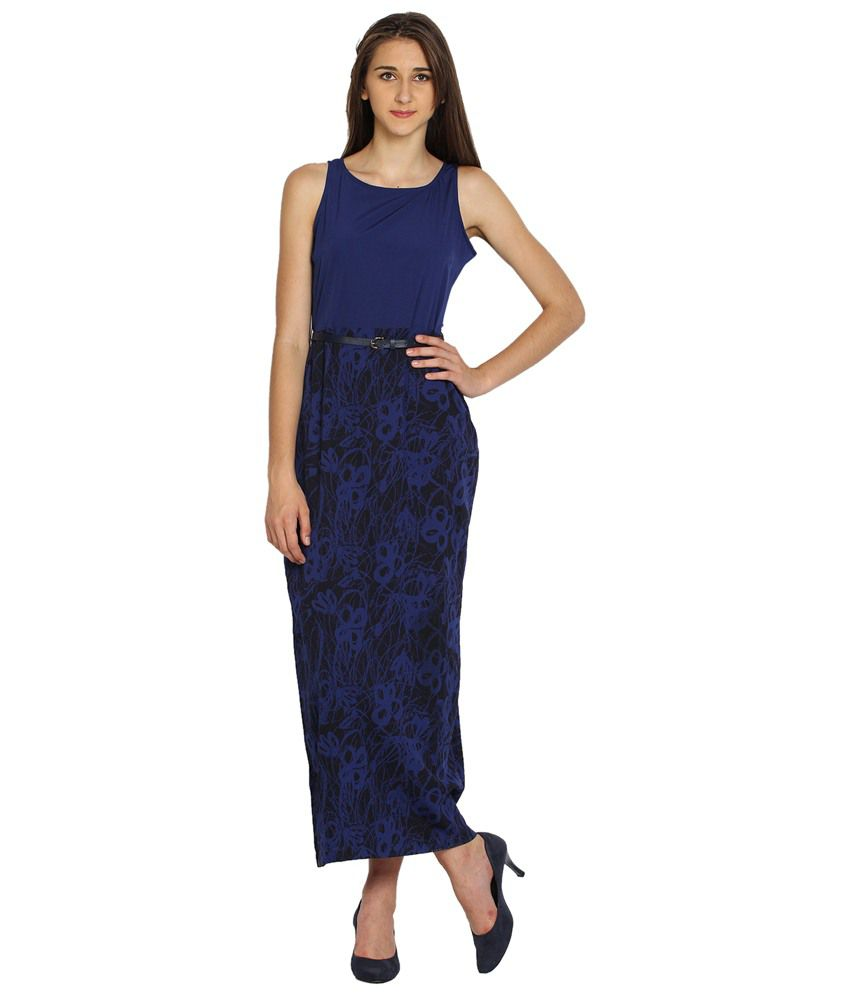 e84ba1574fa Tokyo Talkies Navy Blue   Black Maxi Dress with Belt for Women - Buy Tokyo  Talkies Navy Blue   Black Maxi Dress with Belt for Women Online at Best  Prices in ...