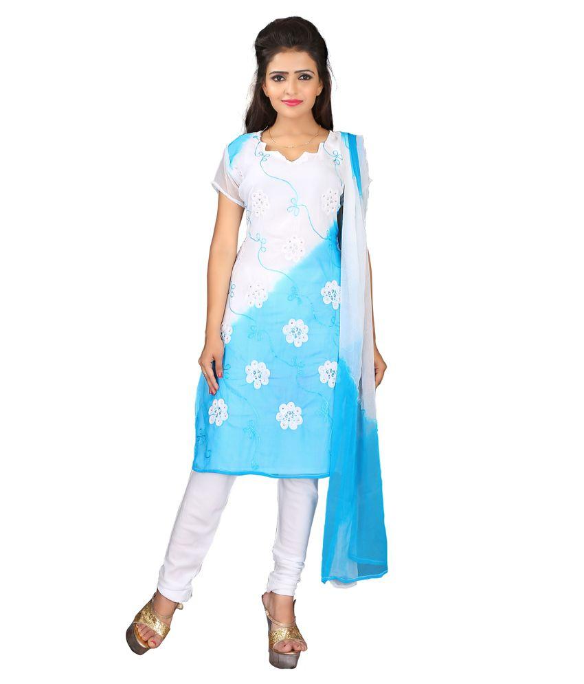 Vitrag Fashion Blue Chiffon Unstitched Dress Material