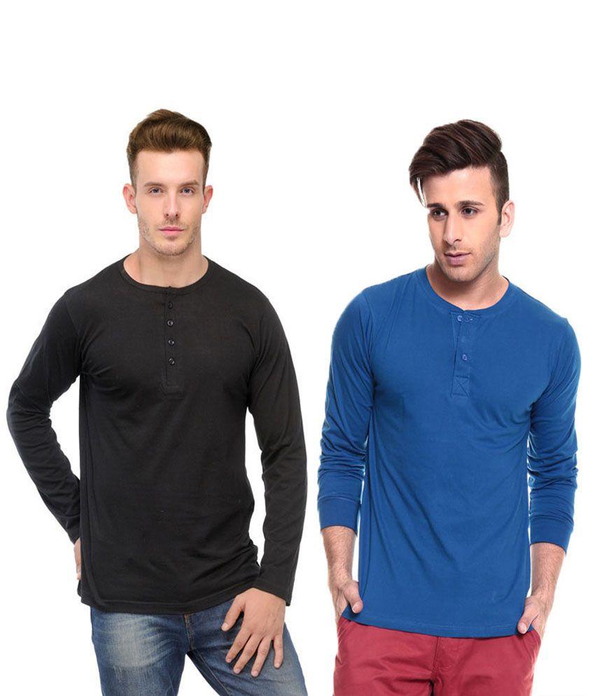 Ansh Fashion Wear Blue and Black Basics Wear T-Shirt - Pack of 2