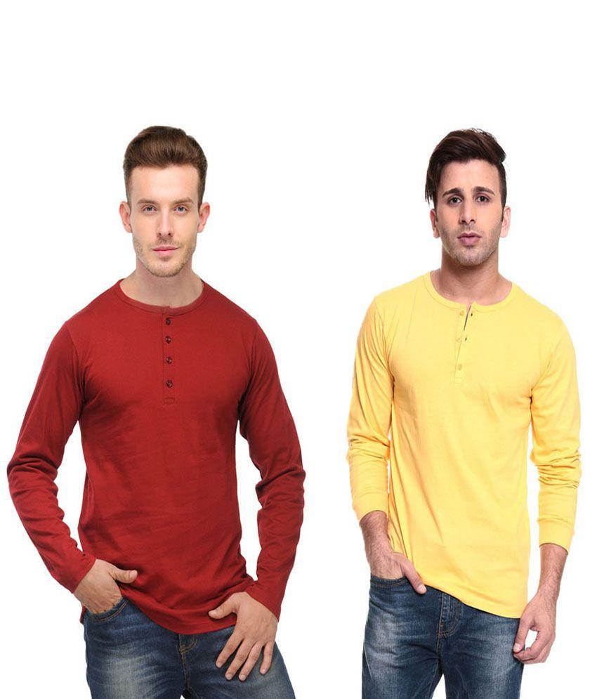 Ansh Fashion Wear Red and Yellow Basics Wear T-Shirt - Pack of 2