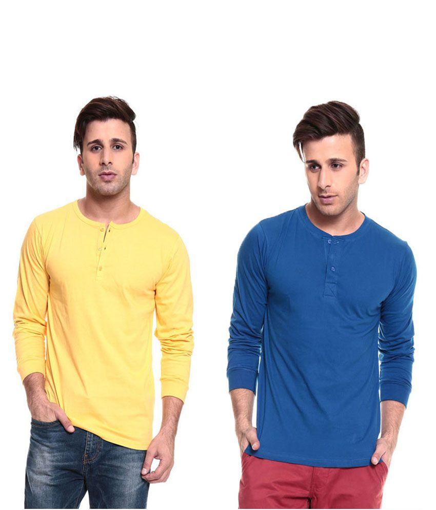 Ansh Fashion Wear Yellow and Blue Basics Wear T-Shirt - Pack of 2
