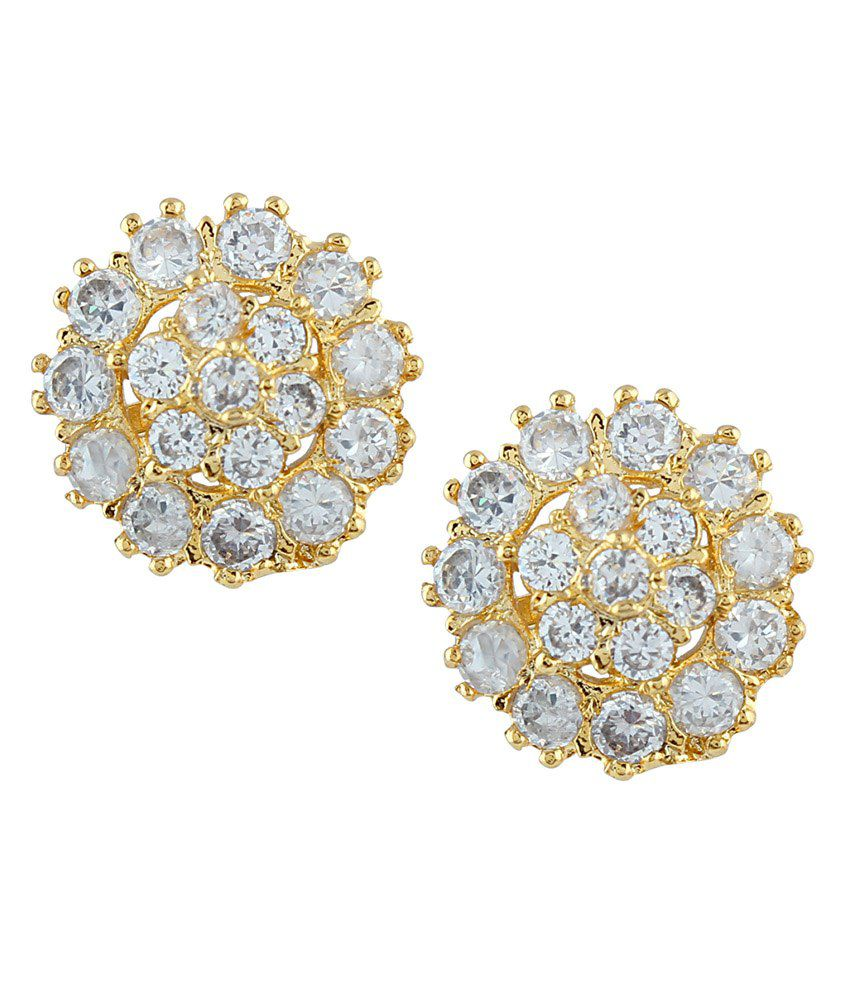 Parijaat White Gold Plated Alloy Ethnic CZ Stud Earring