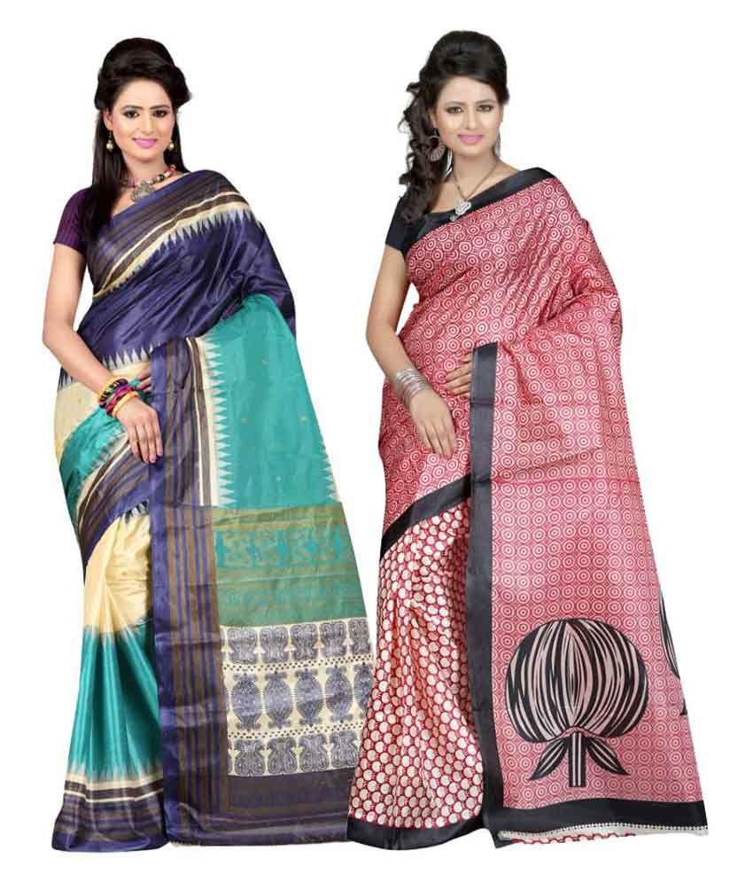Saibaba Textiles Multi Art Silk Pack of 2