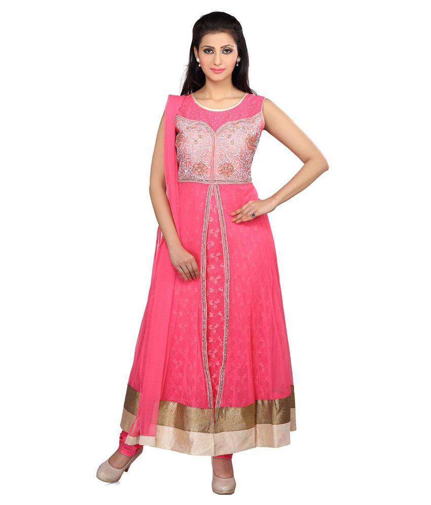 Smartlady Pink Net Stitched Suit