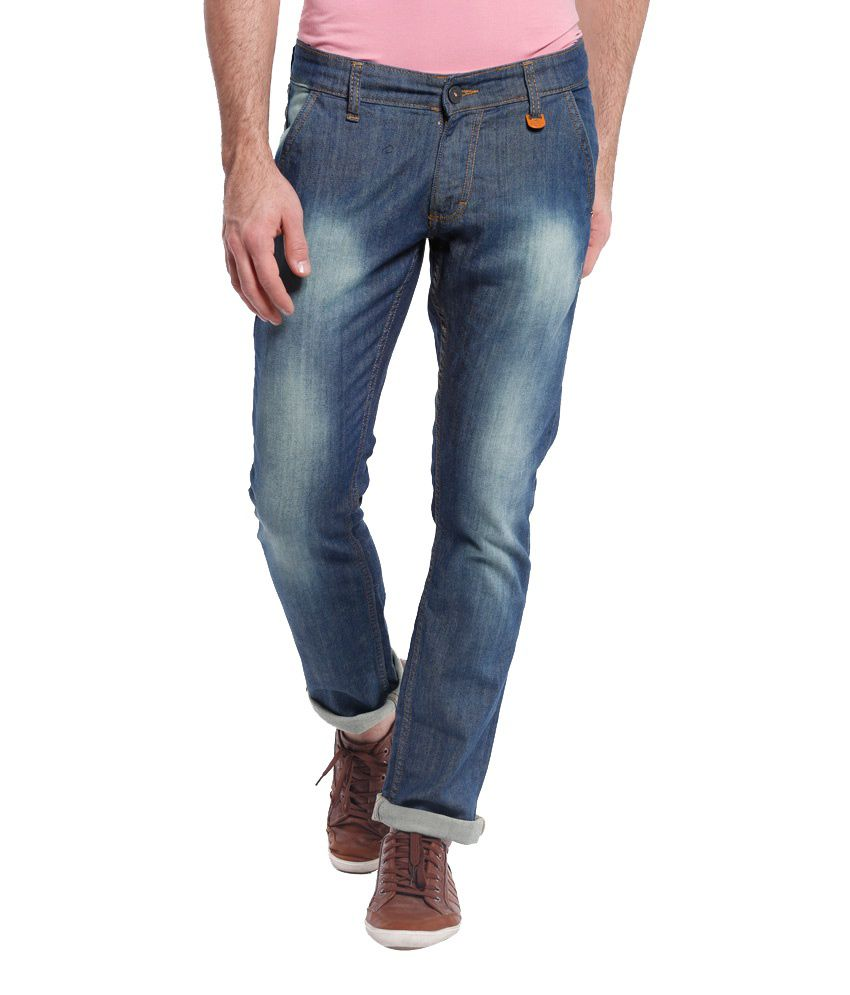 Vintage Blue Cotton Slim Fit Jeans