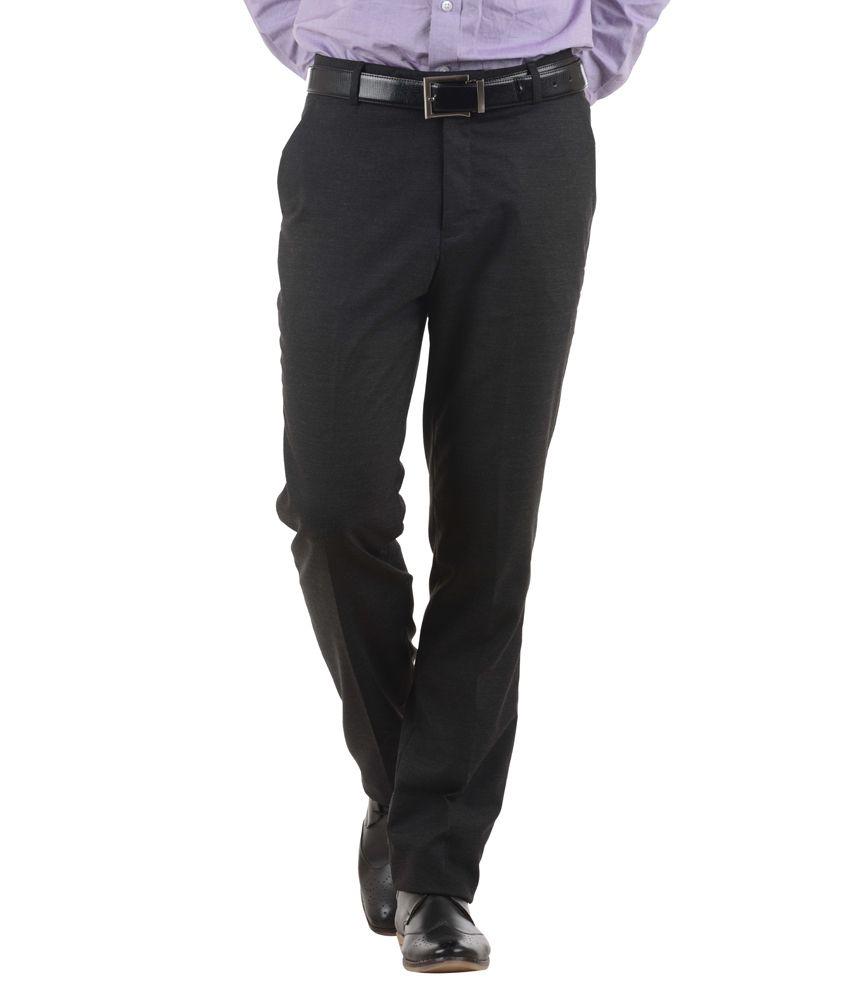 COBB Black Slim Fit Formal Flat Trouser