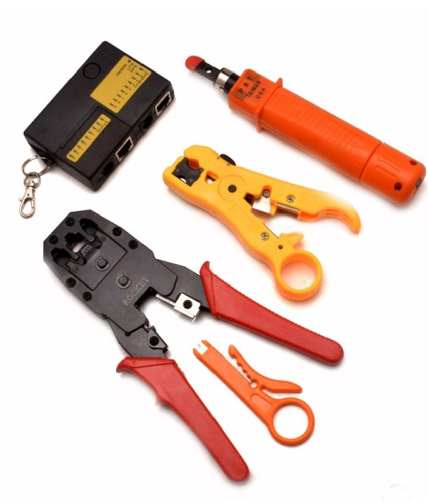 remax impex rj45 crimping tool with small mini lan tester yellow wire stripper and orange. Black Bedroom Furniture Sets. Home Design Ideas