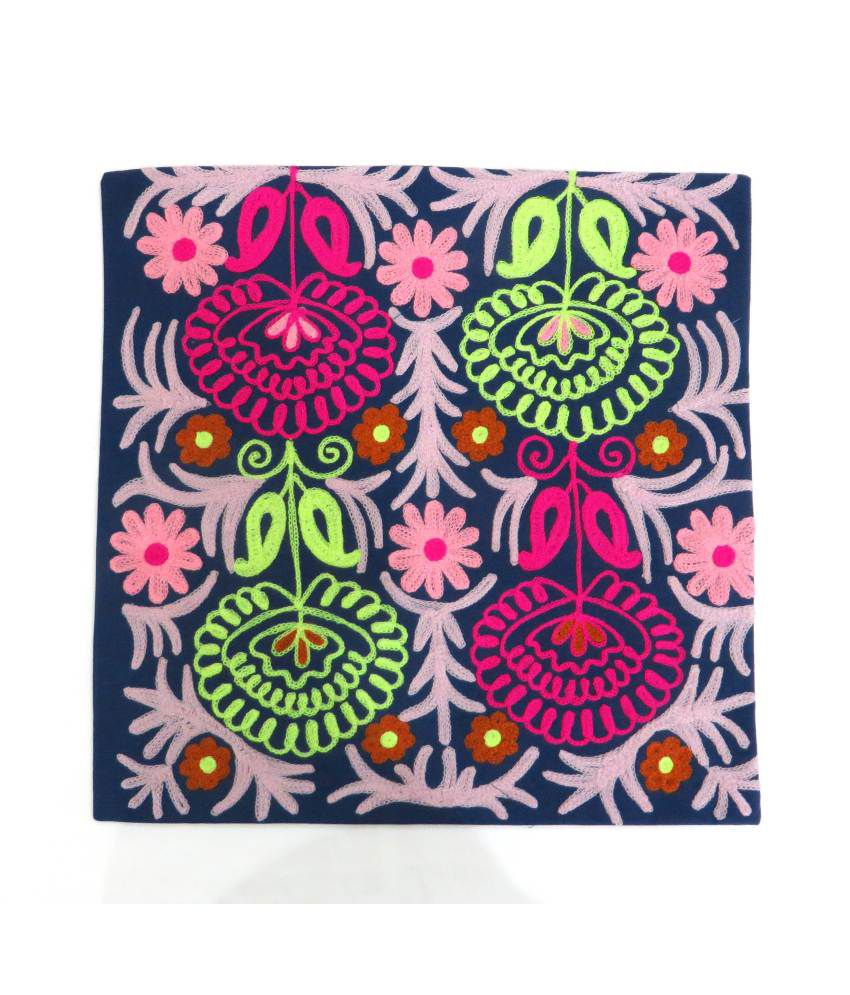 Suncity-Art Blue Embroidery Cotton Cushion Cover