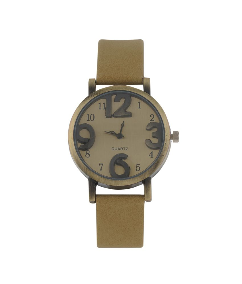 Times Beige Leather Analog Party Wedding Watch