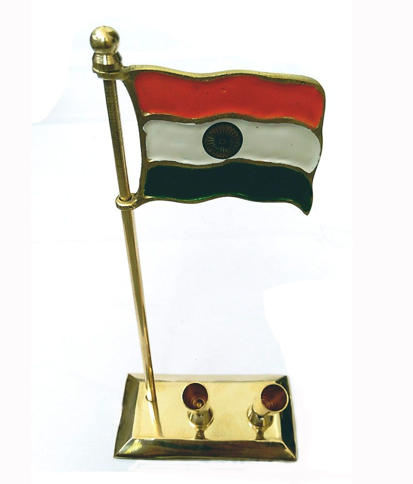 Unique Design Glossy Brass Pen Stand With Flag Buy Unique