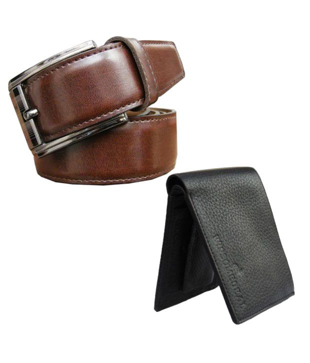 Winsome Deal Combo of Brown Formal Belt with Black Wallet for Men