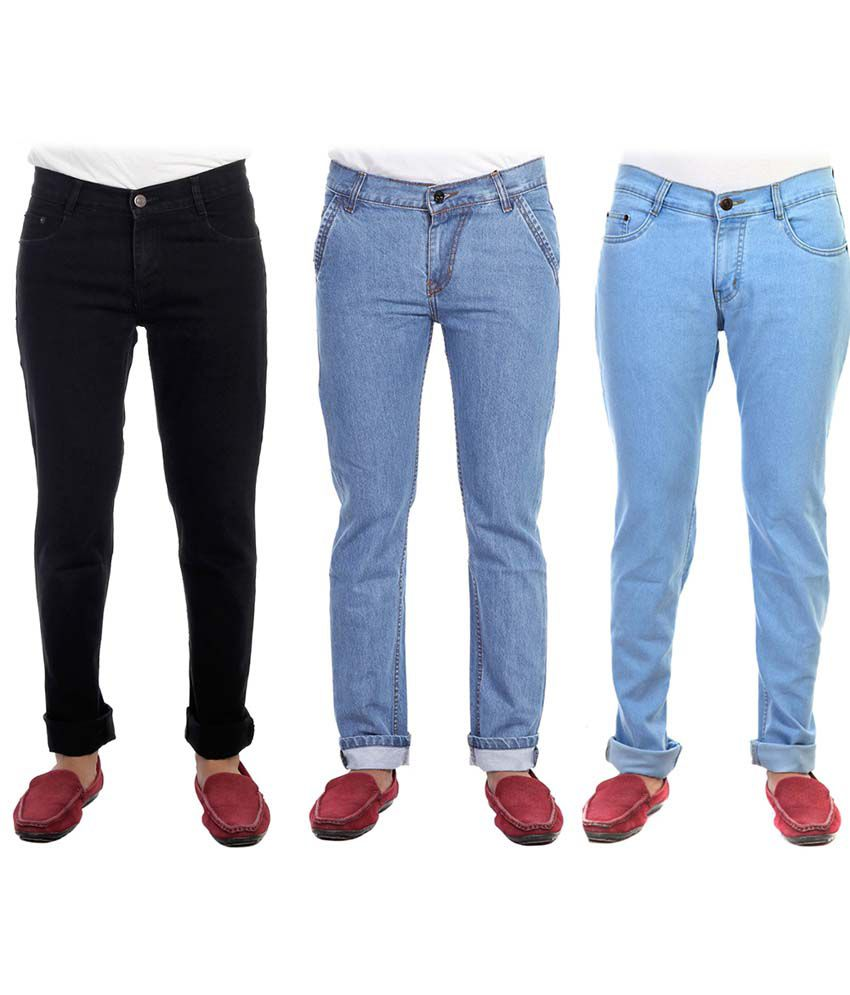 AVE Multicolour Regular Fit Jeans Pack of 3