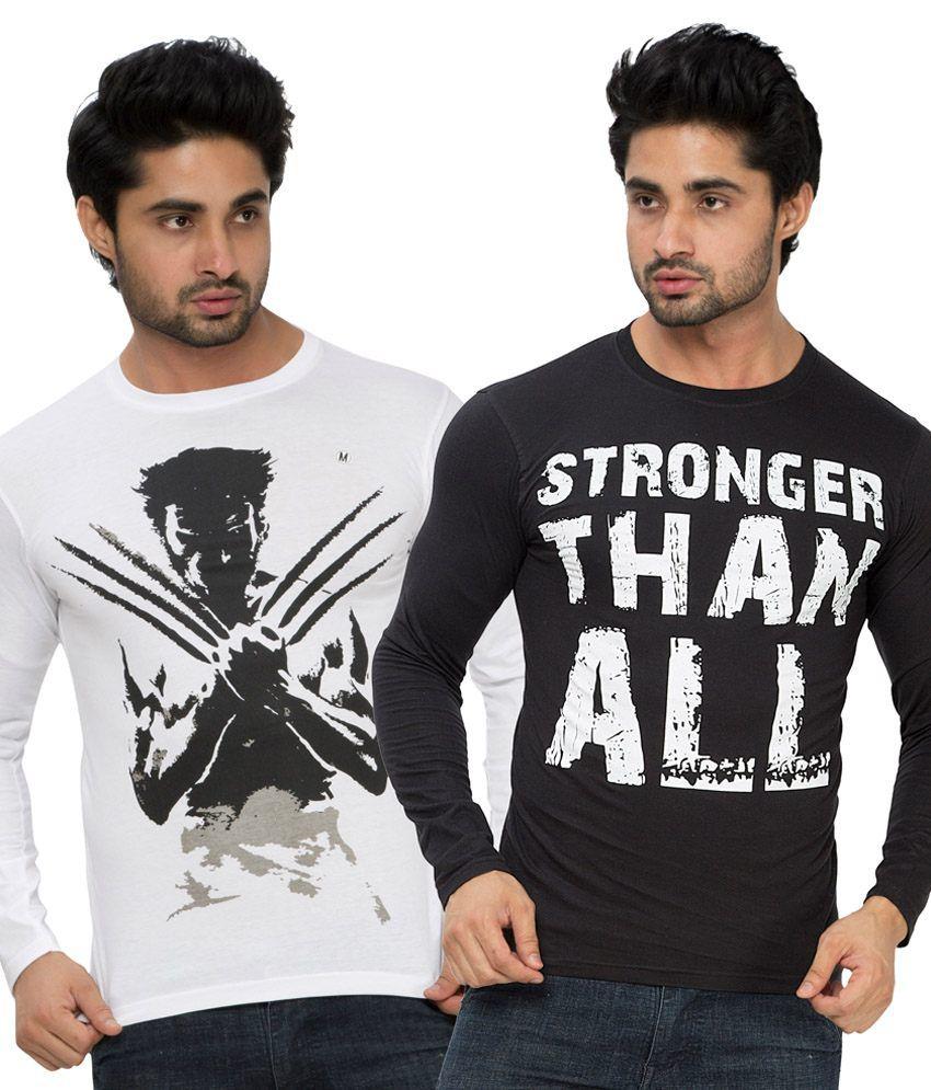 Alan Jones Black and White Cotton T-Shirt - Pack Of 2