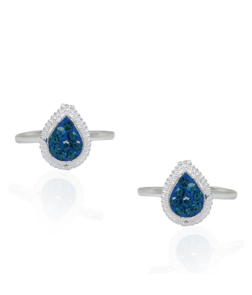 Pehchan Blue German Silver Toe-Rings