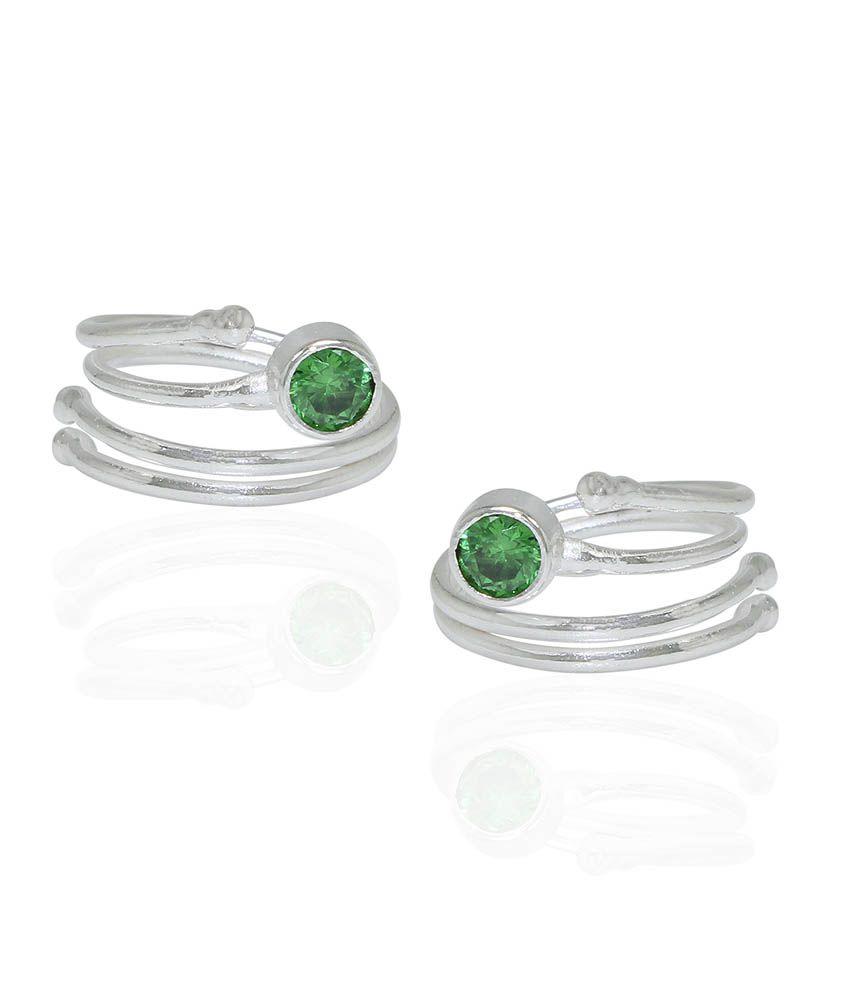 Pehchan Green German Silver Toe-Rings